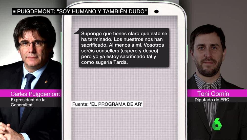 Mensajes de Puigdemont y Comín