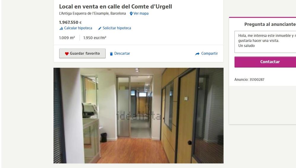 Anuncio de la venta de la sede del PP en Barcelona