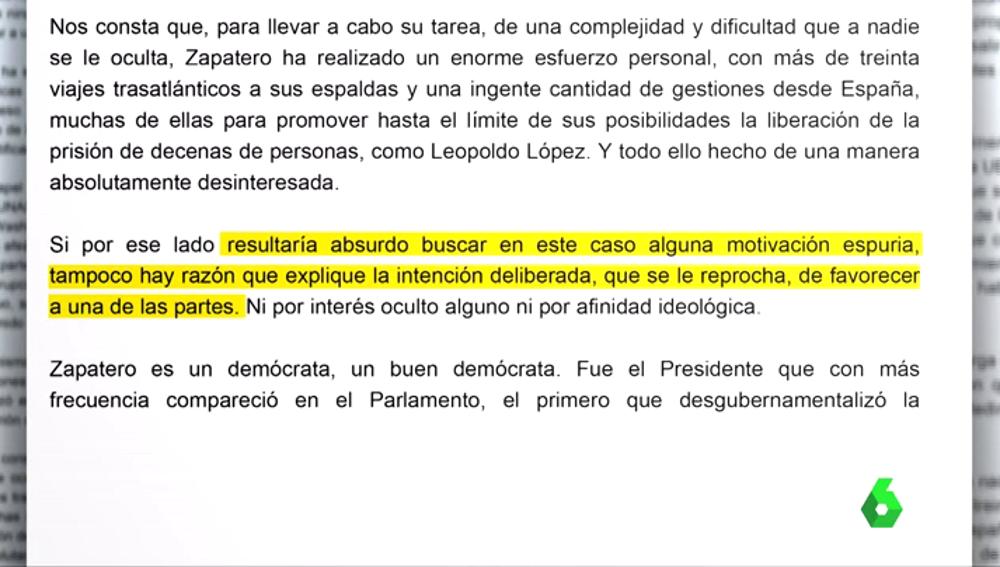 Una parte del manifiesto en defensa de la labor de Zapatero en Venezuela