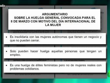 Argumentario del PP sobre la huelga feminista del 8M