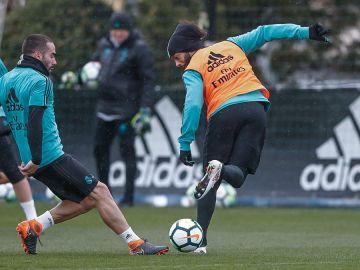 Marcelo, durante el entrenamiento del Real Madrid