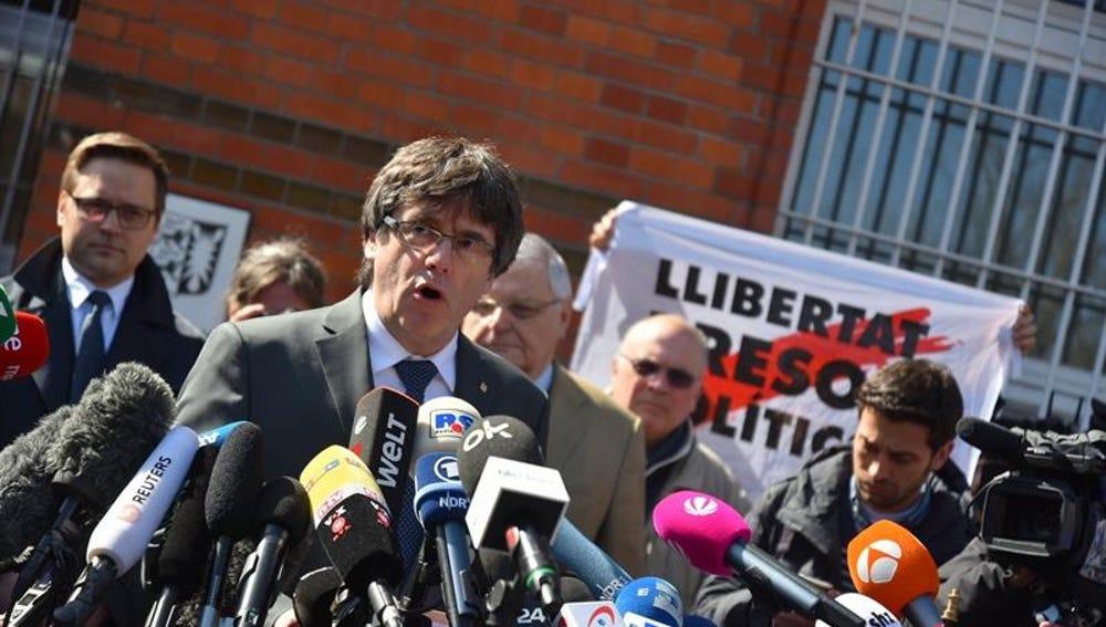 Carles Puigdemont, a su salida de la cárcel