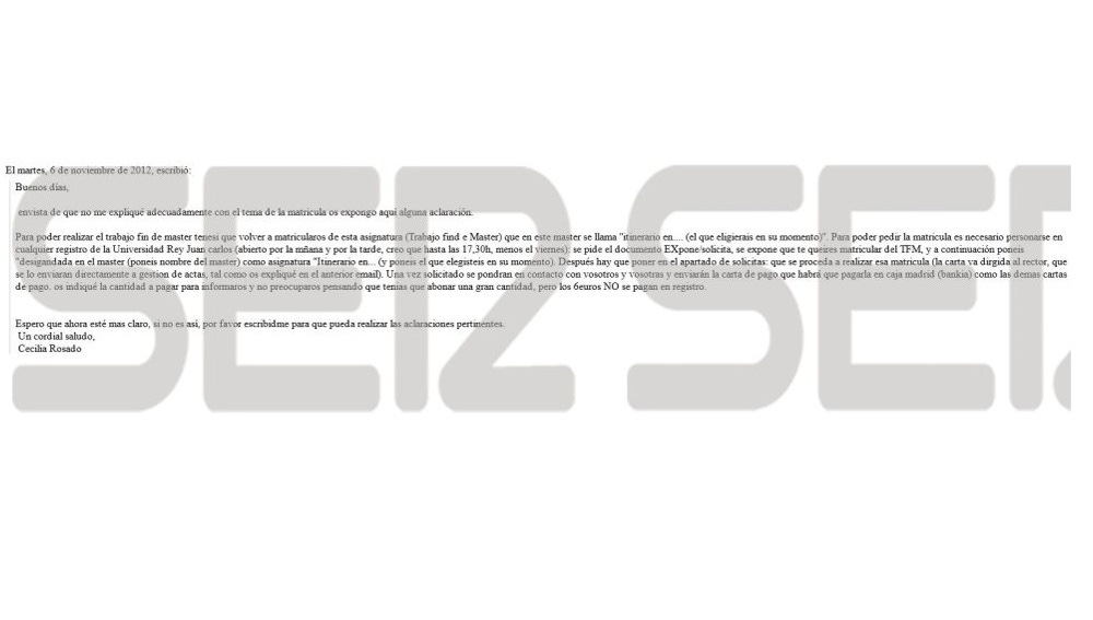 Mail enviado a Cristina Cifuentes para que presentara su TFM