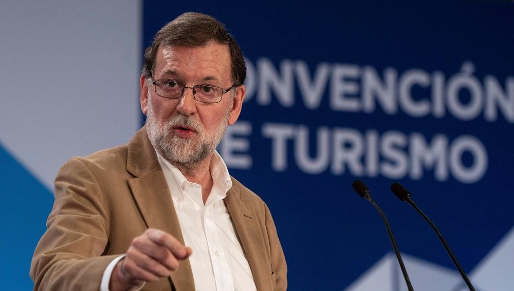 El presidente del Gobierno, Mariano Rajoy, durante su intervención