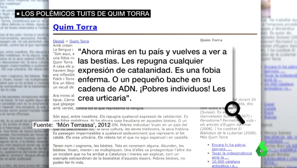 Ataques a España, Andalucía, el castellano... estos son los polémicos artículos de opinión del president Quim Torra: