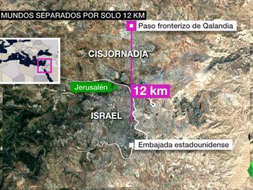 12 kilómetros separaban la inauguración de la embajada de Estados Unidos en Israel de la masacre de 60 palestinos en Gaza