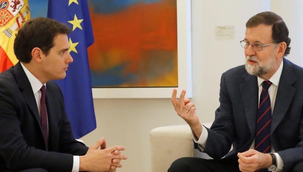 Mariano Rajoy y Albert Rivera, durante la reunión en Moncloa