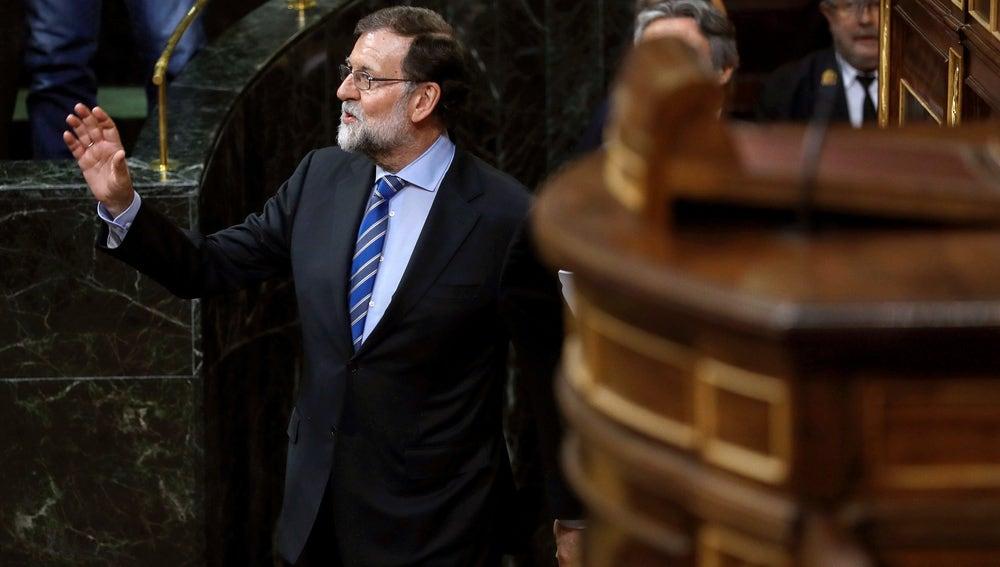 El presidente del Gobierno, Mariano Rajoy durante el Pleno del Congreso