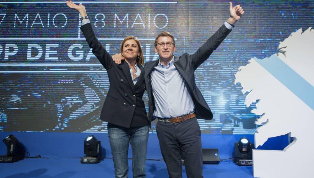 El presidente de la Xunta de Galicia, Alberto Núñez Feijóo, y María Dolores de Cospedal