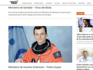 El astronauta Pedro Duque, en una noticia de El Mundo Today