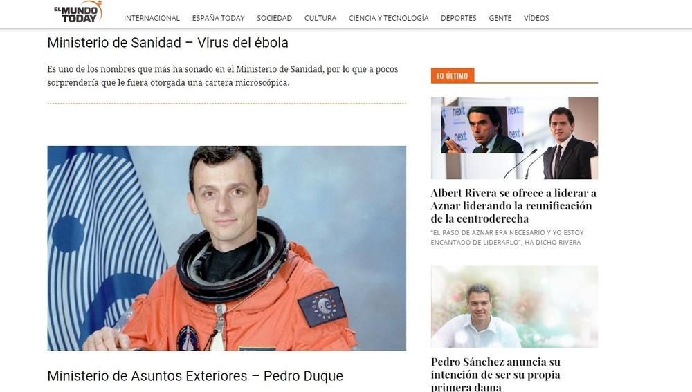El astronauta Pedro Duque, en una noticia de El Mundo Today