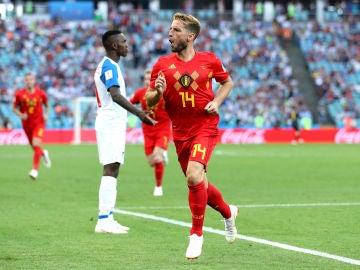 Mertens celebra su gol contra Panamá