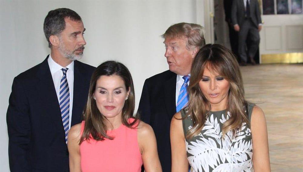 Donald Trump, su mujer Melania Trump, el rey Felipe VI y la reina Letizia