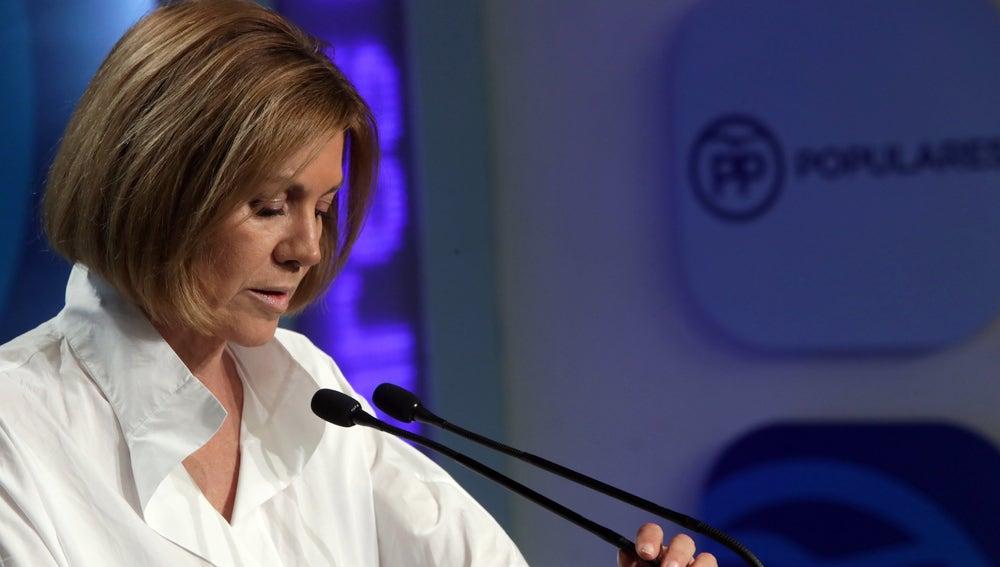 María Dolores de Cospedal en la sala de prensa del PP