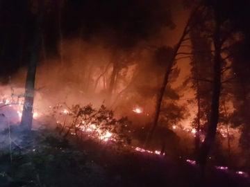 Incendio en una cala de Mallorca