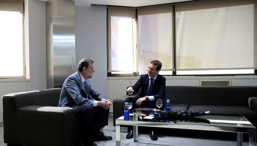 Reunión de Pablo Casado y Mariano Rajoy