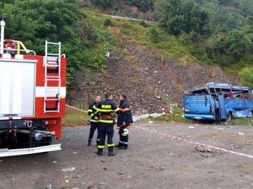 Lugar del accidente de autobús en Bulgaria