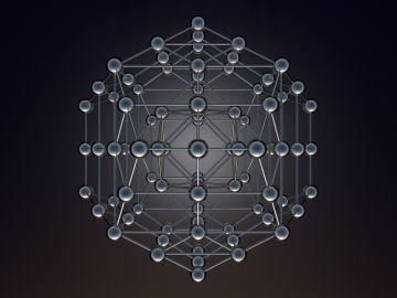 Octaedro de átomos modelo bolas