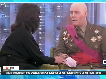 Carlos Latre parodia a Franco delante de Carmen Martínez-Bordiú