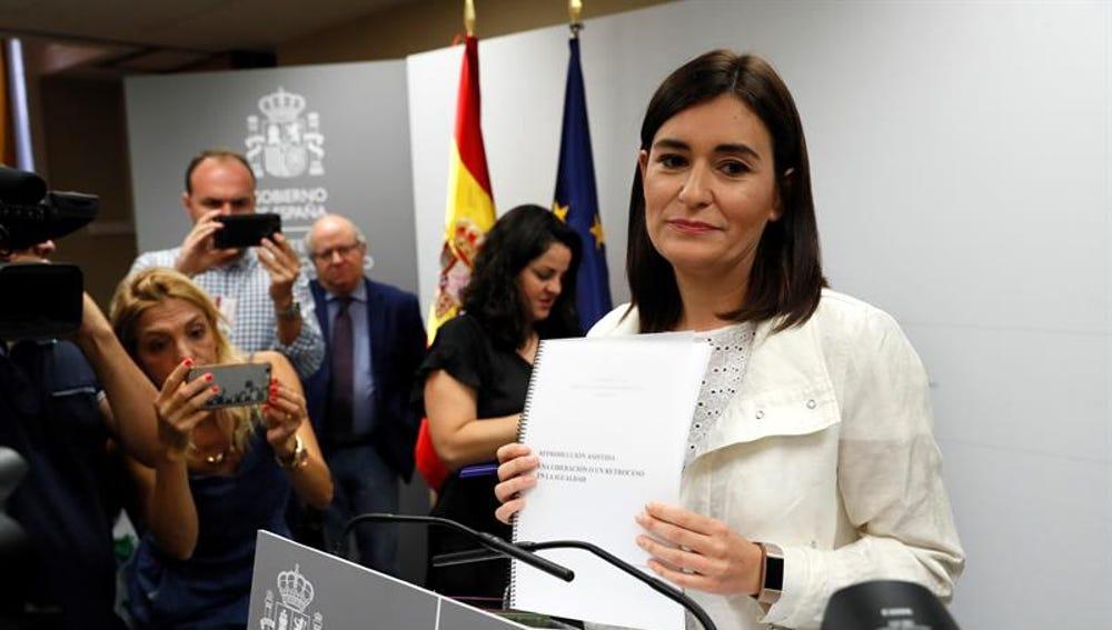 La ministra de Sanidad, Consumo y Bienestar Social, Carmen Montón