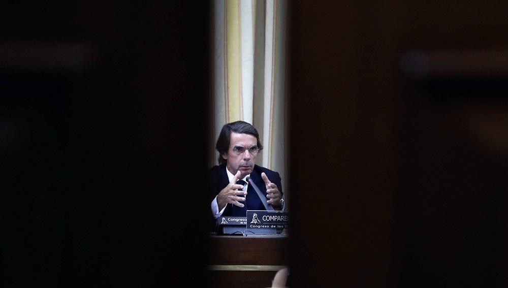 José María Aznar en la comisión del Congreso sobre la caja B del PP