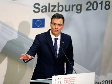 El presidente del Gobierno español, Pedro Sánchez, hoy durante la Cumbre informal de Jefes de Estado de la UE