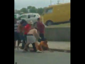 Momento de la grave agresión en Monterrey