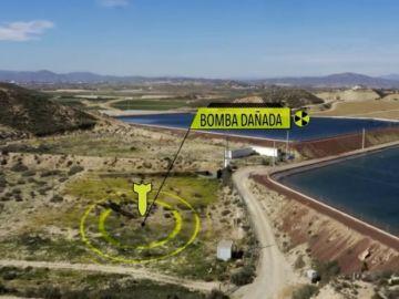 Dos balsas de regadío donde cayó la bomba en Palomares