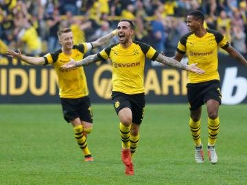 Paco Alcácer celebra un gol con el Borussia Dortmund
