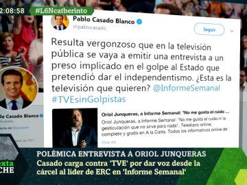Imagen del tuit de Pablo Casado a TVE