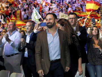 El presidente de Vox, Santiago Abascal, durante un acto político