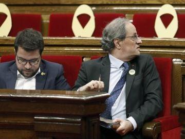 El presidente de la Generalitat, Quim Torra, y su vicepresidente, Pere Aragonés
