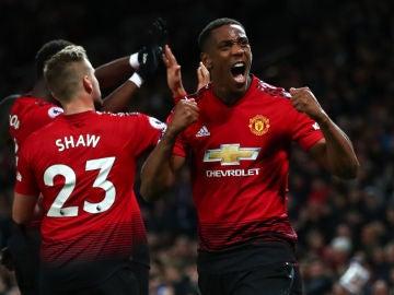 Martial celebra su gol contra el Newcastle