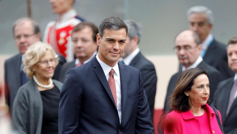 Imagen de Pedro Sánchez en el desfile de la Fiesta Nacional