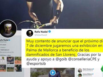 Rafa Nadal jugará una exhibición en Palma a beneficio de Sant Llorenç