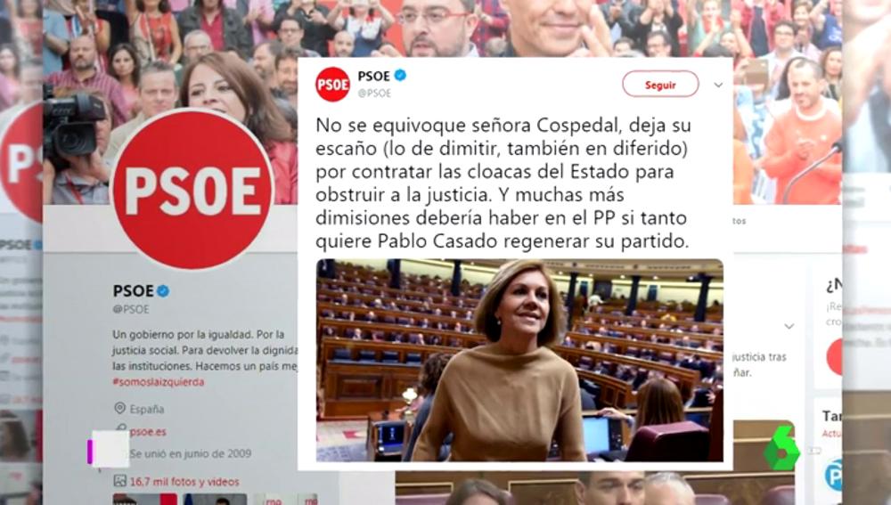 """El PSOE critica la marcha """"en diferido"""" de Cospedal"""