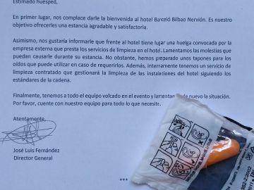 Un hotel de Bilbao regala tapones para los oídos por una huelga de las Kellys