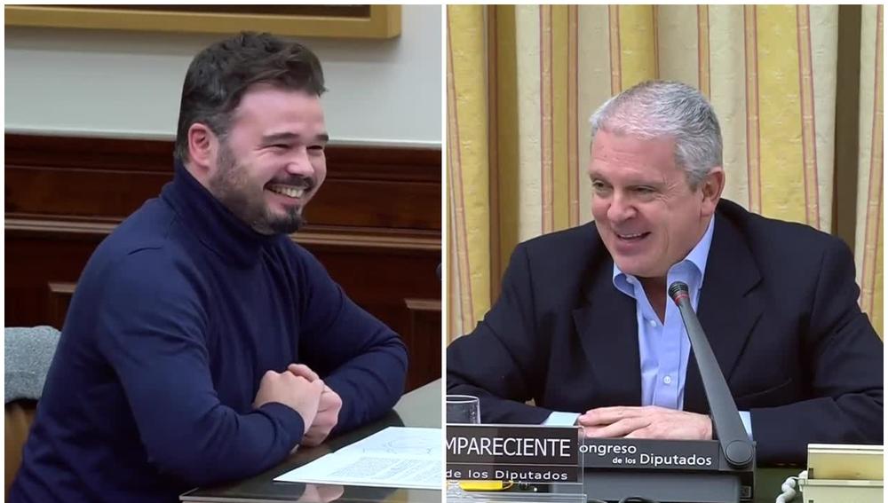 A la izquierda, Gabriel Rufián, diputado de ERC; a la derecha, Pablo Crespo, considerado 'número 2' de Gürtel