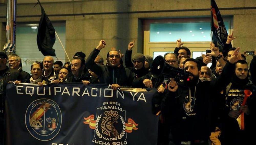 Un momento de la protesta convocada por la asociación Jusapol