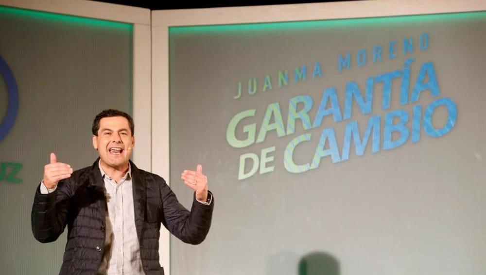 El candidato del PP a presidente de la Junta de Andalucía, Juanma Moreno