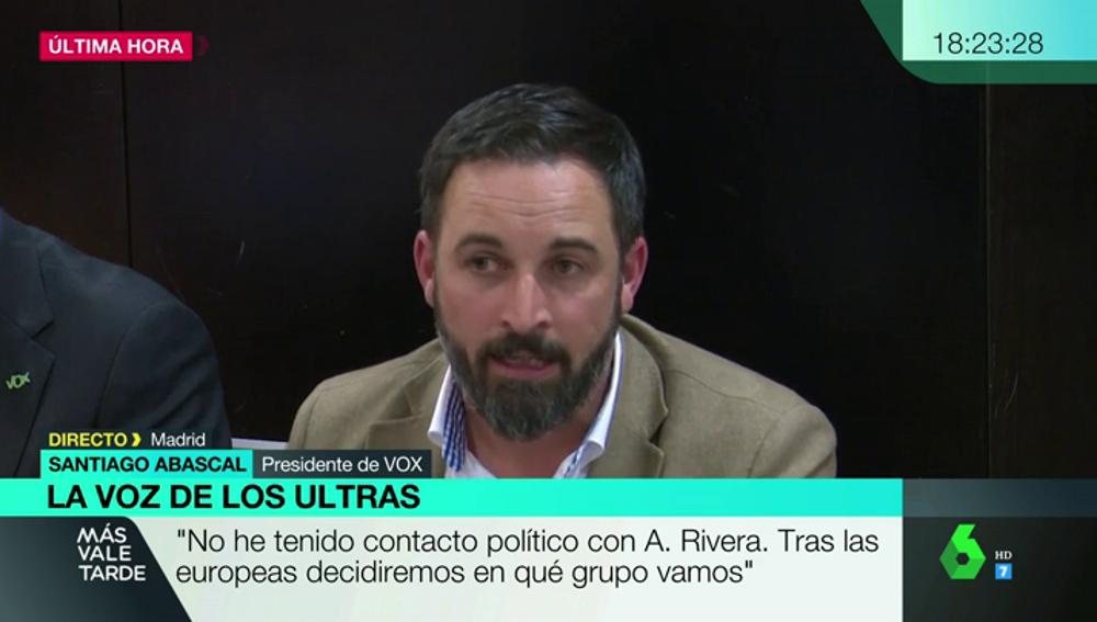 """Santiago Abascal, a los medios de comunicación: """"El derecho a la información se produce a pesar de ustedes"""""""