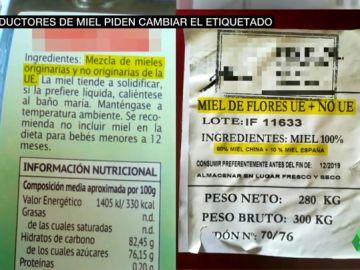 Comparativa entre el actual etiquetado de la miel y el que piden los productores