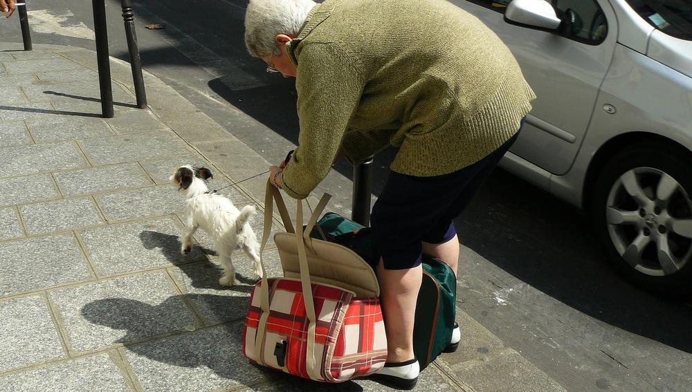Señora paseando a su perro