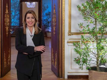 La presidenta en funciones de la Junta de Andalucía, Susana Díaz, durante la grabación del tradicional mensaje de fin de año