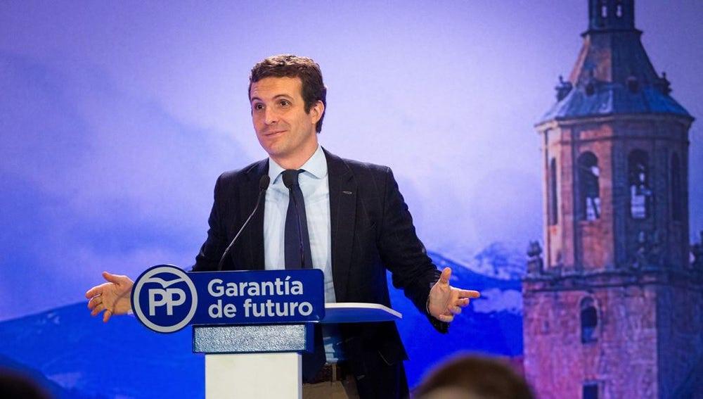 Imagen de Pablo  Casado en un acto del PP