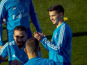 Brahim Díaz, en su primer entrenamiento con el Real Madrid