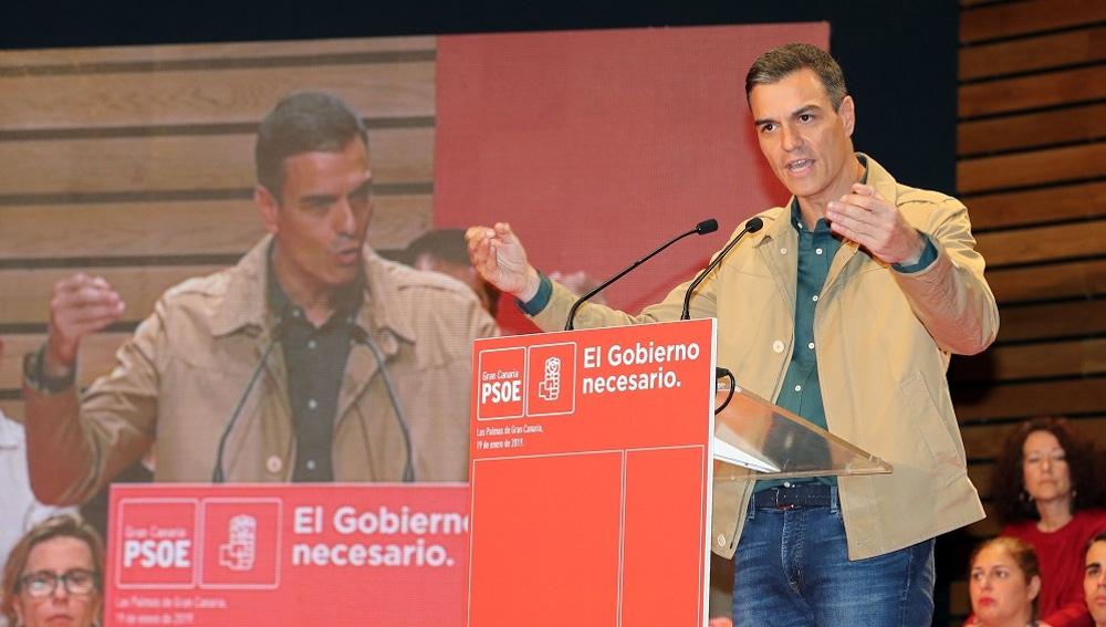 Sánchez durante su intervención en la clausura de la conferencia municipal organizada por el PSOE de Gran Canaria