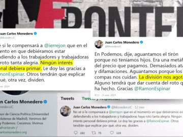 """Monedero culpa a Errejón de la dimisión de Espinar: """"No sé si le compensará que haya roto tanta alegría"""""""