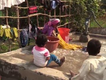 Imagen de refugiados rohinyás en la India