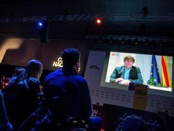Discurso a través de televisión del expresidente de la Generalitat Carles Puigdemont